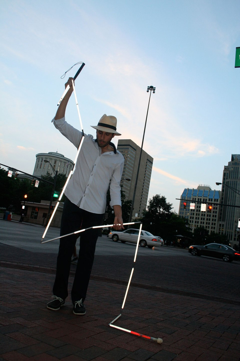 Carmen Papalia. Long Cane, 2009. Performance object; dimensions variable. Courtesy Kristin Rochelle Lantz.